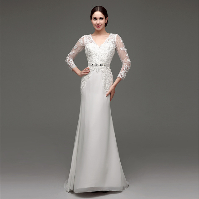 WTS25 Vestido De Noiva Luxury Wedding Dresses Fashion The Bride Lace Long Sleeve V-Neck Elegant Wedding Gown