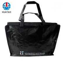 Fugang Large Pp Laminated Woven Black Shopping Zipper Bag With Handle
