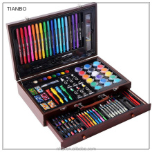 Kids New Design 123pcs High quality DIY drawing wooden case with color pens crayons color pencils assorted in one set