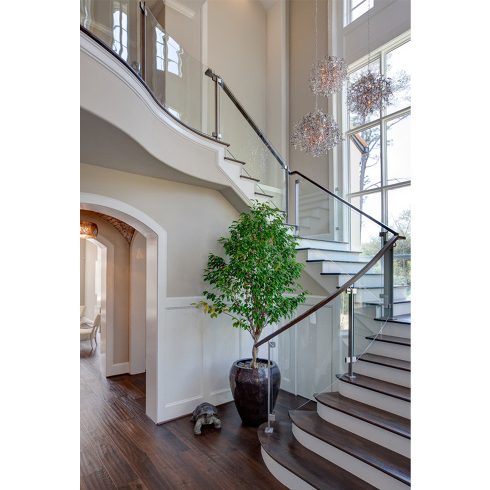 Wooden Stair Modern Design For Glass Railing