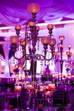 2016 new cheap 9 arms crystal candelabras / wedding crystal and metal tall pillar