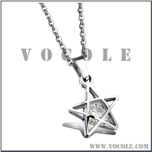 Star pendant with big zircon stainless steel chain neckalce 2016