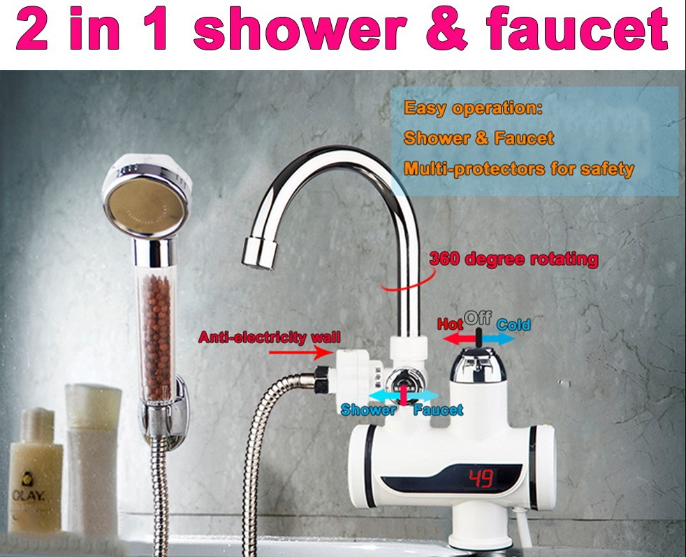 ABS Temperature Display Instant Fast Heat Water Heater Tankless Durable Electric Hot Faucet