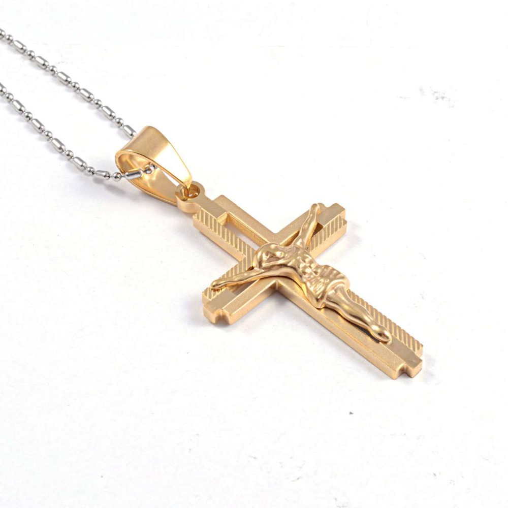 Cross Necklace Jewelry Yellow Gold Plated Women/Men Pendant Necklace Jesus Piece Christ Jewelry RP33