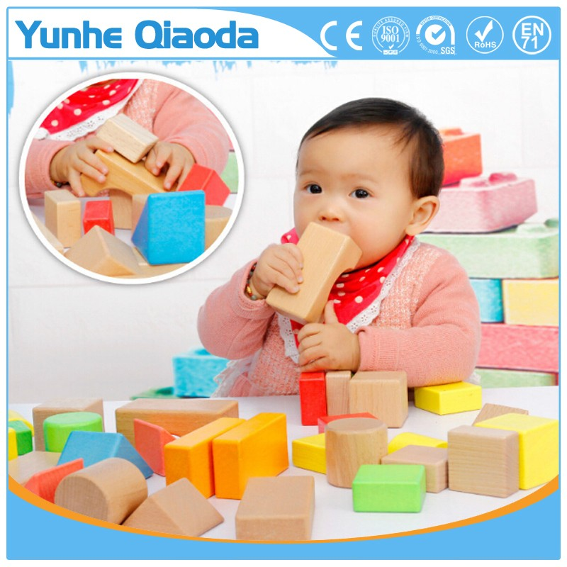 High quality Environmentally friendly 32pcs solid beechwood building blocks for preschool <strong>kids</strong>