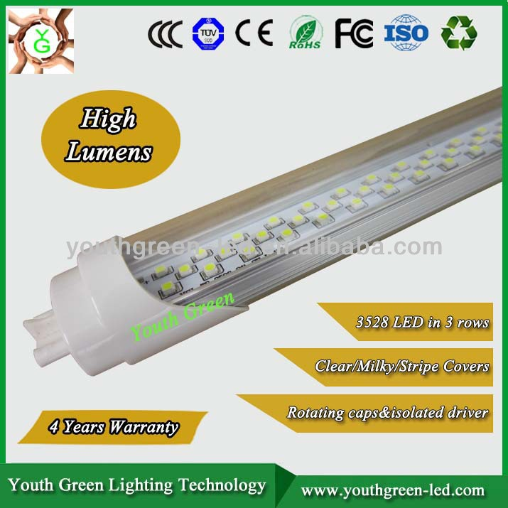led Tubo 20W LED T8 tube light stripe/frosted /clear cover led tube with CE, RoHS