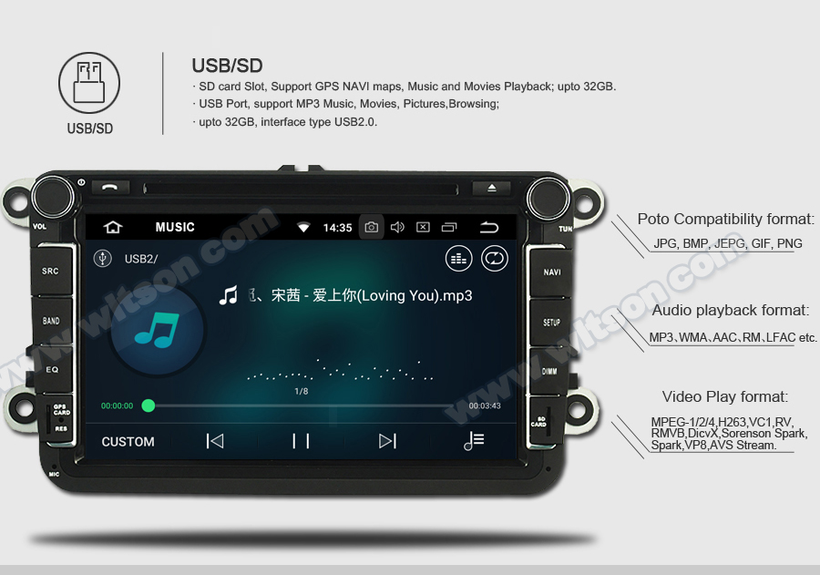 WITSON ANDROID 8.0 AUTO RADIO DVD PLAYER GPS FOR RENAULT MEGANE III