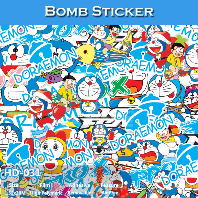 HD-031 CARLIKE Air Free Lovely Car Wrapping PVC Bomb Sticker Film