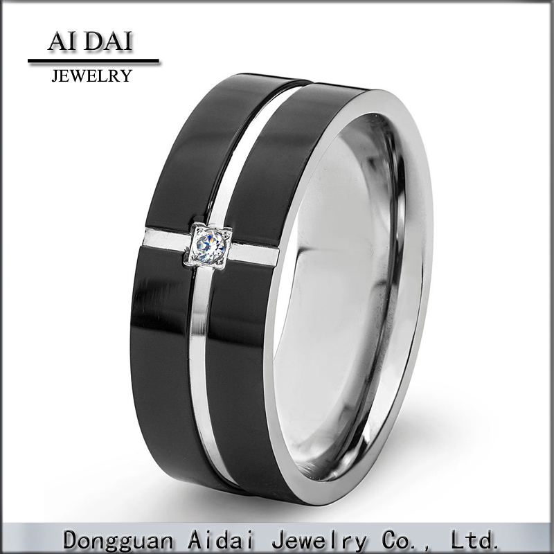 Black Plated Polished Stainless Steel Cubic Zirconia Grooved Comfort Fit Ring - 8mm Wide