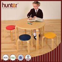 Kids wooden table w. 4 stools