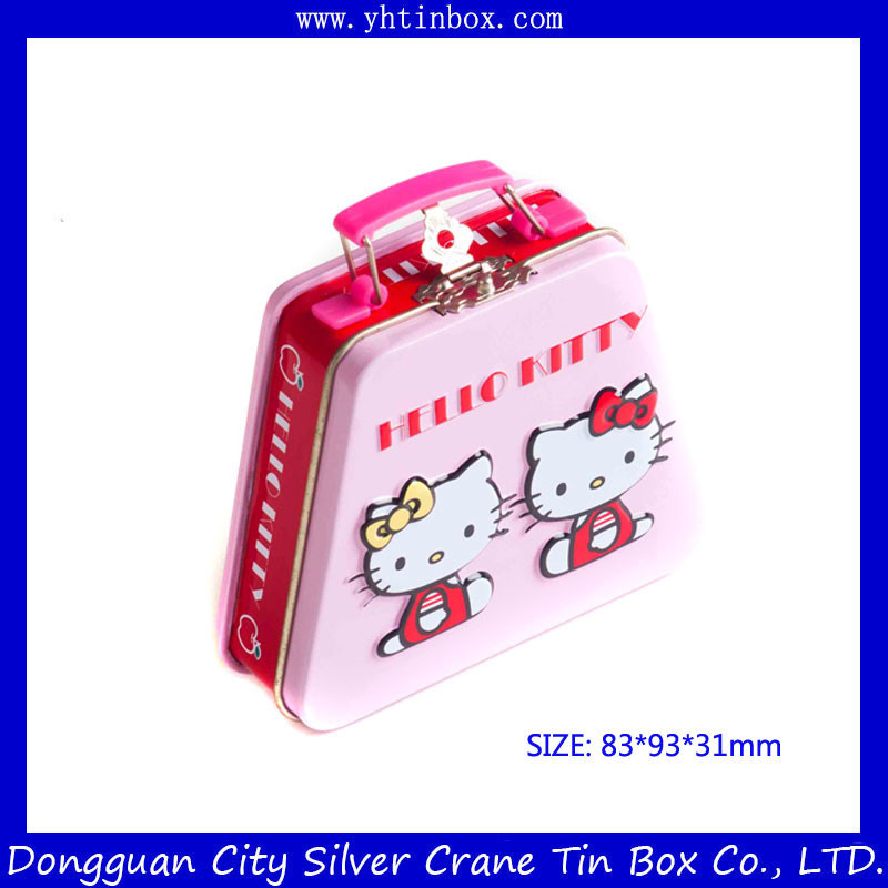 Cartoon Tin Portable Gift Case/Box with Handle,Lovely Hello-Kitty Metal Candy Box