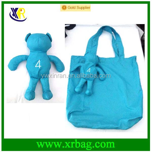 Wholesale Animal Bear Doll Shaped Foldable Nylon Shopping Bags