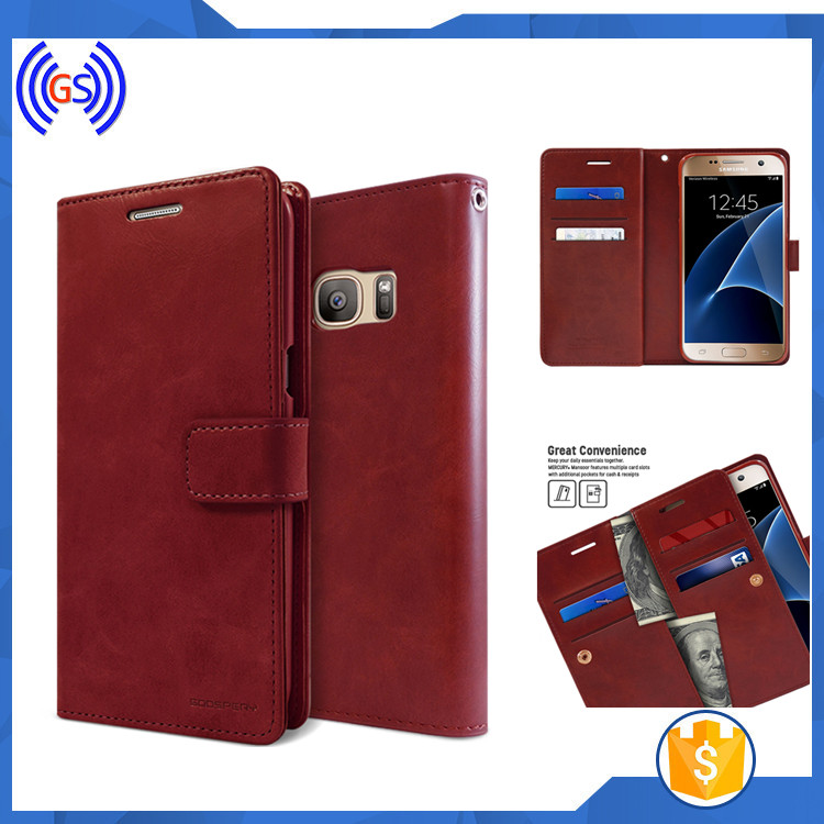 Stock selling mobile phone case for xiaomi redmi 3 flip leather, Goospery brand case