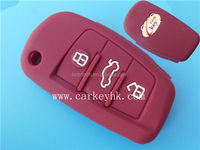 Environmental Silicone car key cover 3 buttons flip key blank silicone case for remote controll red color