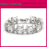 Beautiful Clear Cubic Zircon Crystal 14k White Statement bridal jewelry Bracelet