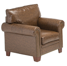 UK Classic Sofa Leather Linen Armchair With Nailhead Trim And Storage Space Living Room Furniture NO.AF14