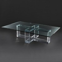 Clear Acrylic Rectangle Cross Cocktail Coffee Table