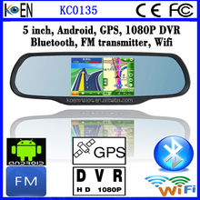 FM Wifi 5.0 Inch Screen 1080P DVR Bluetooth Android Rearview Mirror Car GPS Navigation With Wireless Rearview Camera
