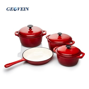 Enamel cast iron cookware set casserole and grill pan