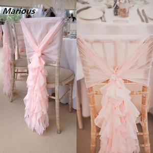 Nantong Wedding colorful blush curly willow chiffon chair sash for wedding
