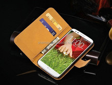 Flip and Fold Leather Wallet Phone Cover Case for LG G2, for LG G2 Phone Case