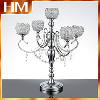 2016 Hot sale 5arms Crystal tall table decoration wedding centerpiece candle holder