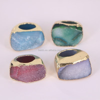 Mixed Color Agate Druzy Quartz Rings, Metal Gold Electroplated Gemstone Ring