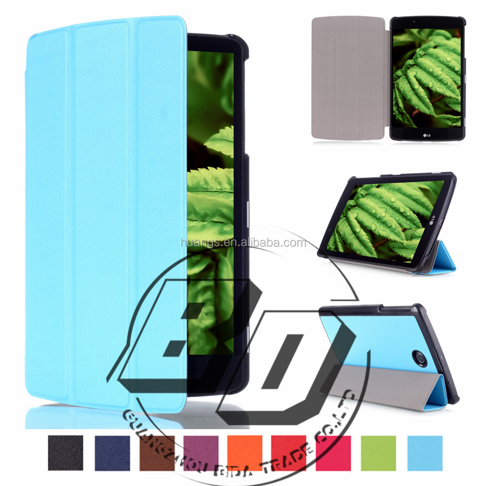 New Design Classical Threes Folding Leather Tablet Cover Flip Silk Print Case For LG G PAD 2 8.0 V498 factory price