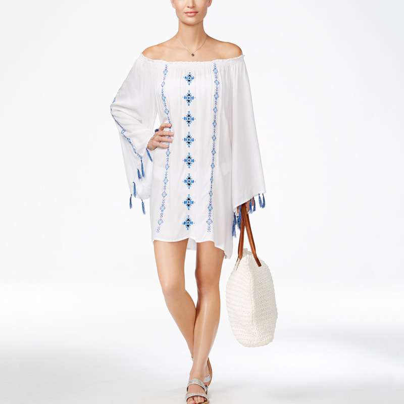 Hot Selling Digital Printed Custom Embroidered Beach Cover Up Beach Kaftan Long Bell Sleeves With Tassels Beach Dress