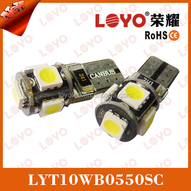 hot sale T10 canbus 5 SMD 5050 led car lamp, no error w5w 194 canbus led, t10 5w5 canbus car led auto bulb 194 canbus led lamp