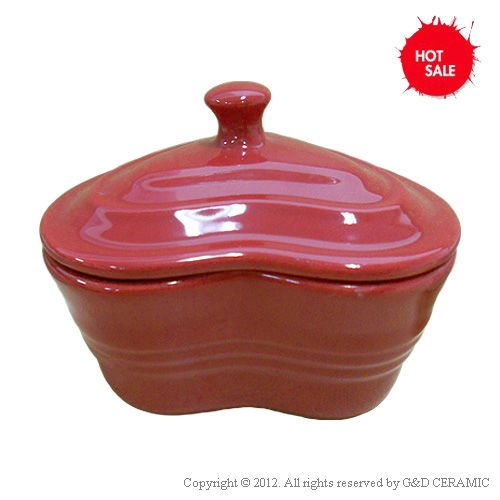 Heart Shape Red White Mini Ceramic Casserole With Lid