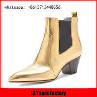 elegant high qualityhigh heel pointed toe golden genuine leather boots