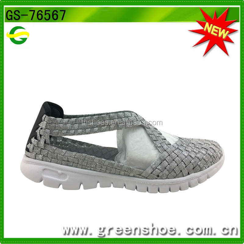 The latest hand made women woven leather shoes from China