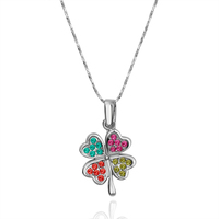 Factory Wholesale bijou accessories N1145 good fortune four-leaf clovers pendant colours Zircon gold plated necklace