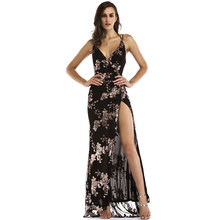 Ladies Gold Sequin Sexy Backless Long Evening Party Wear Gown Prom Dress
