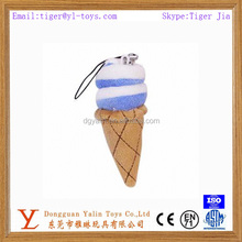 Realistic plush novelty ice cream keychain toy