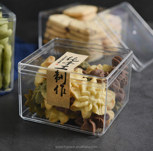 PS disposable transparent plastic rectangular food container / candy box / container packaging for Biscuits