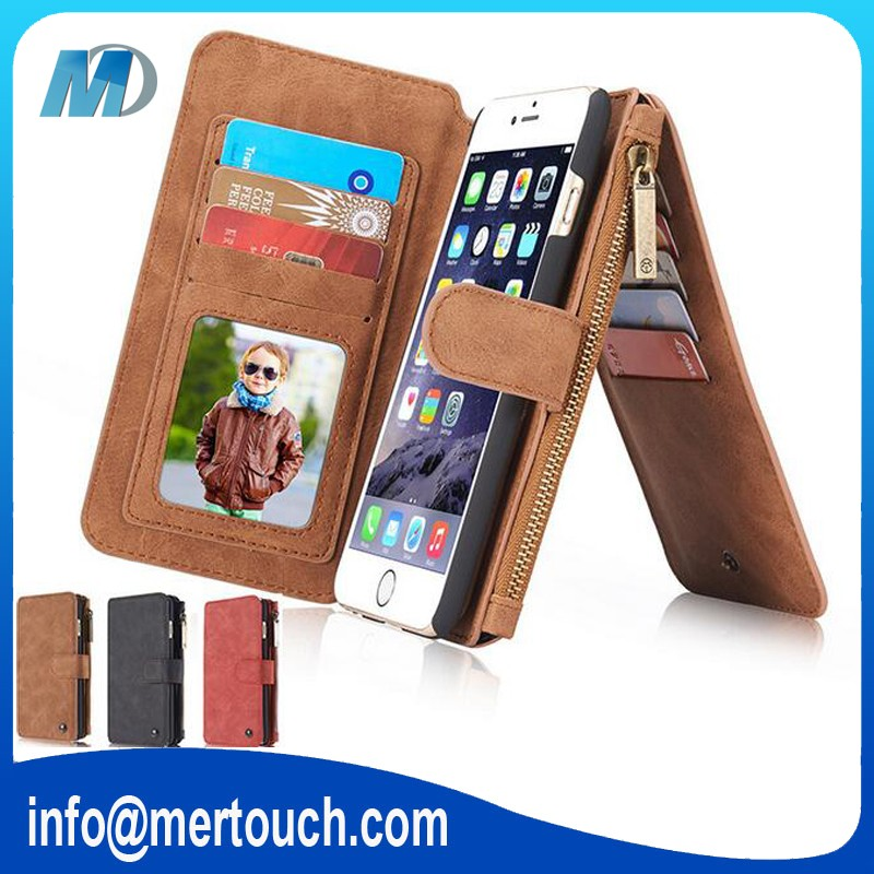 CaseMe brand multifunction 14 business card holder 3 fold wallet leather case for iphone 6 6s
