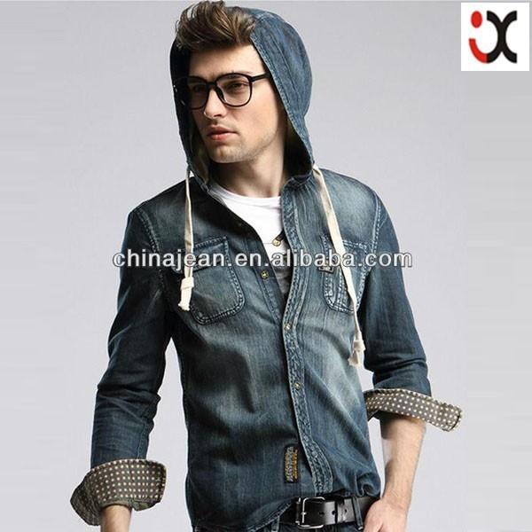 2017 stylish jeans jacket for men wholesale cheap jeans hoody jean jacket (JXJ25840)