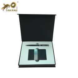 Leather Stainless Steel Business Card Case with Magnetic Shut business card holder and pen gift set
