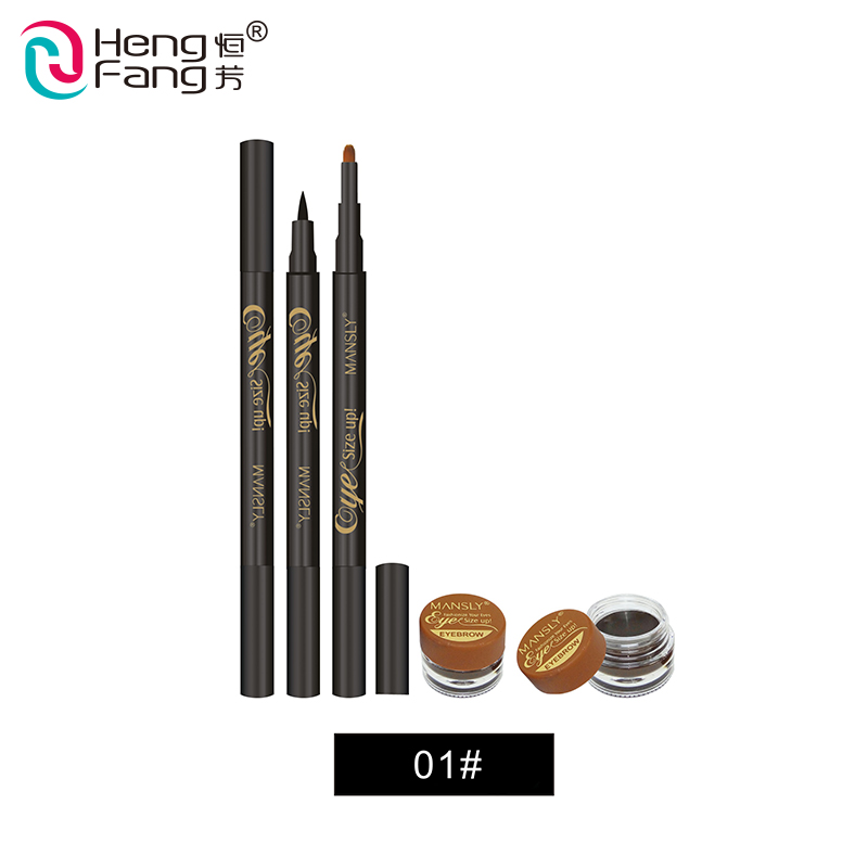 2 in 1 long-lasting blooming smooth drawing eyebrow with liquid eyeliner pen
