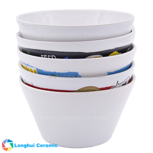 5.6'' promotional giveaway custom design printed white conical ceramic serving bowl