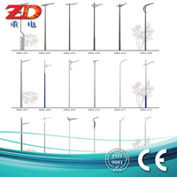2016 high quality Q235 hot dip galvanized outdoor steel lamp post light pole