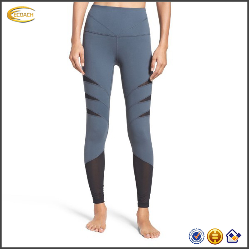 2017 NEW Wholesale Custom High Waisted Fitness Mesh Yoga Leggings Women Compression Tights Pants