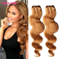 5 Bundles Honey Blonde Body Hair Extension Light Brown Virgin Hair Body Wave #27 Color