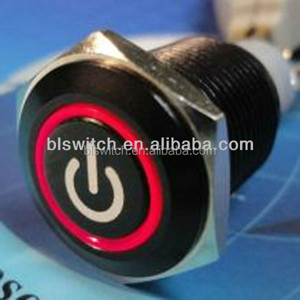 black case 16mm red angel eye led 12v push button switch