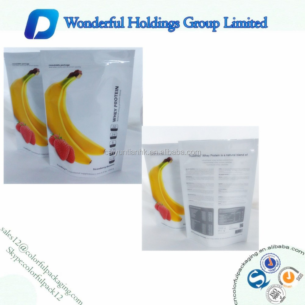 1 kg resealable banana flavor Protein Powder bag / stand up pouch with zip / plastic stand up bags for protein powder