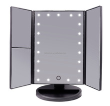 Trifold LED lighted Makeup Mirror Foldable Portable Travel Electric Chargeable HD Vanity Mirror with Lights