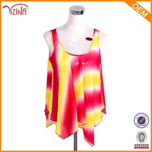 Manufacturer Wholesale Latest Designs Transparent Tank Top Girls Sublimation Chiffon Tops