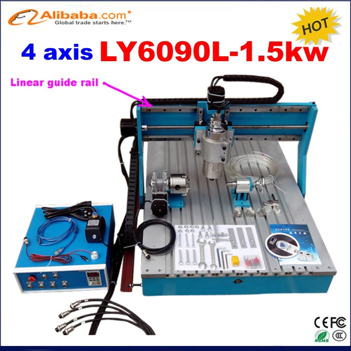 Hot sale 6090 600*900*110mm rotary cnc router /mini cnc milling machine 4 axis with 1.5kw spindle for Linear Guide Rail
